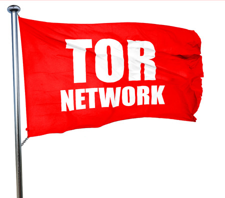 resisting: tor network, 3D rendering, a red waving flag Stock Photo