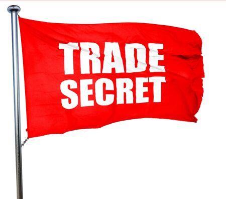 trade secret: trade secret, 3D rendering, a red waving flag