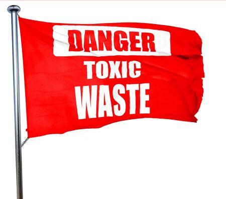 residuos toxicos: signo de residuos t�xicos con unas l�neas suaves, 3D, agitar una bandera roja