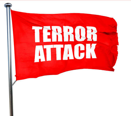 caliphate: terror attack, 3D rendering, a red waving flag