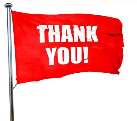 gratefulness: gracias, representaci�n 3D, agitar una bandera roja