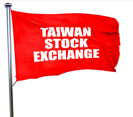 wallstreet: taiwan stock exchange, 3D rendering, a red waving flag Stock Photo
