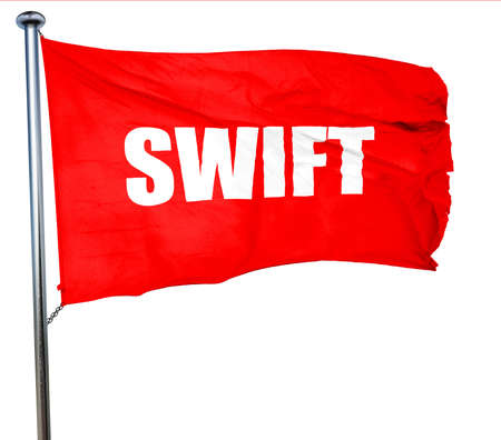 swift: swift, 3D rendering, a red waving flag