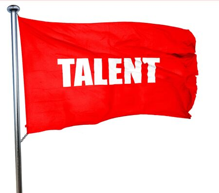 headhunter: talent, 3D rendering, a red waving flag