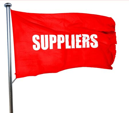 suppliers: suppliers, 3D rendering, a red waving flag