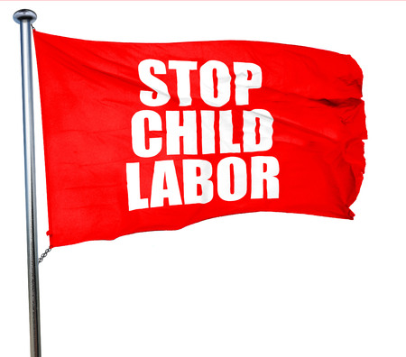 illegality: stop child labor, 3D rendering, a red waving flag Stock Photo