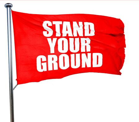 self harm: stand your ground, 3D rendering, a red waving flag
