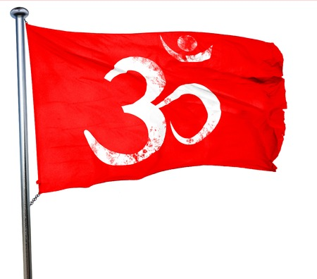 sanskrit: Om sign icon with some soft flowing smooth lines, 3D rendering, a red waving flag