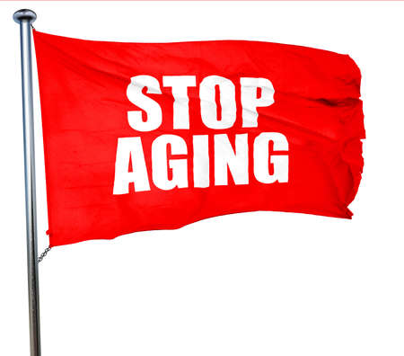 anti ageing: stop aging, 3D rendering, a red waving flag