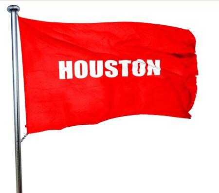 houston flag: houston, 3D rendering, a red waving flag