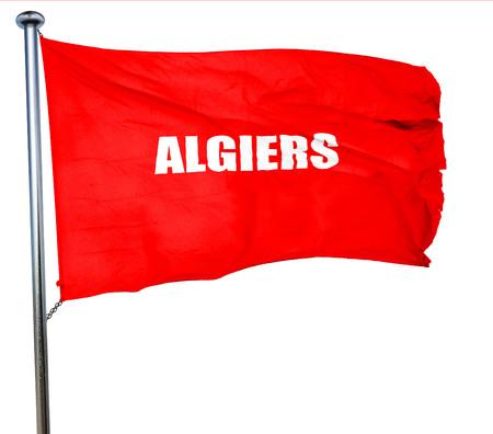 algiers: algiers, 3D rendering, a red waving flag
