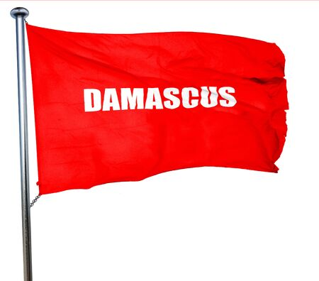 damascus: damascus, 3D rendering, a red waving flag Stock Photo