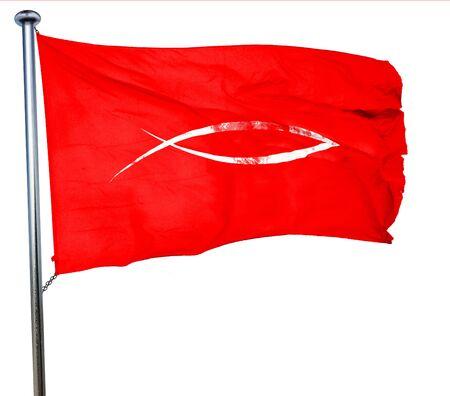 pez cristiano: s�mbolo cristiano de los pescados con unas l�neas suaves suaves, 3D, agitar una bandera roja