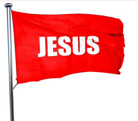 jesus, 3D rendering, a red waving flag Stock Photo