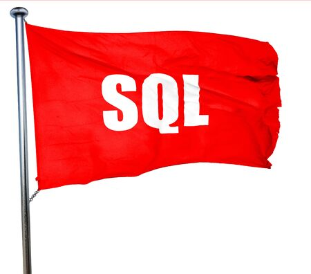 sql: sql, 3D rendering, a red waving flag Stock Photo