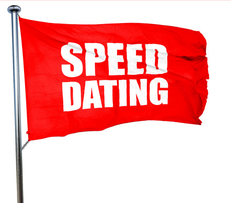 speed dating: speed dating, 3D rendering, a red waving flag Stock Photo