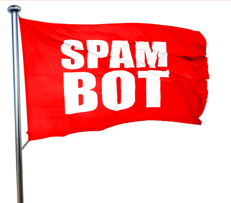 bot: spam bot, 3D rendering, a red waving flag Stock Photo