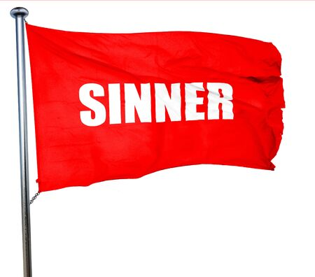 sinner: sinner, 3D rendering, a red waving flag Stock Photo