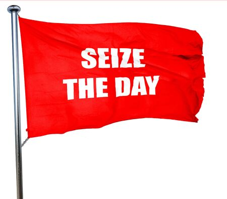 seize: seize the day, 3D rendering, a red waving flag Stock Photo