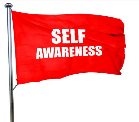 self worth: self awareness, 3D rendering, a red waving flag