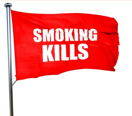 killing cancer: smoking kills, 3D rendering, a red waving flag