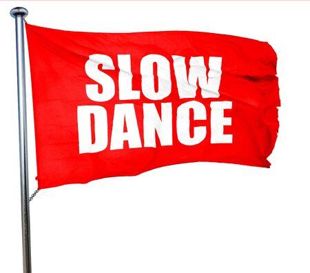 3d dance: slow dance, 3D rendering, a red waving flag