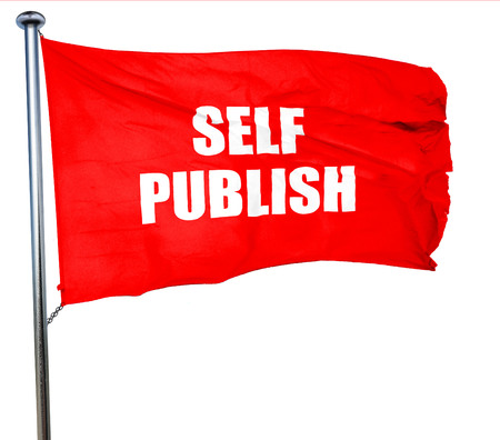 novelist: self publishing, 3D rendering, a red waving flag