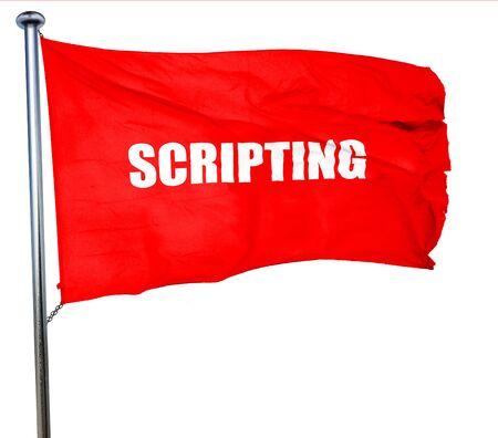 scripting: scripting, 3D rendering, a red waving flag