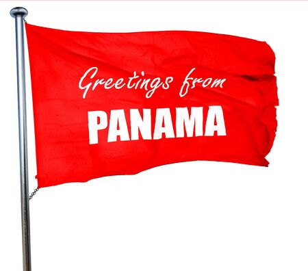bandera panama: Greetings from panama card with some soft highlights, 3D rendering, a red waving flag Foto de archivo