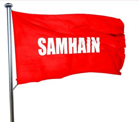 samhain: Samhain. 3D rendering, a red waving flag