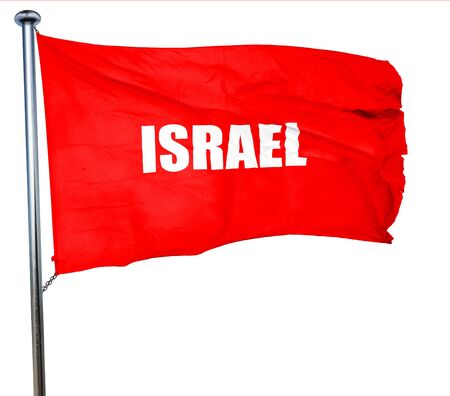 isolation backdrop: israel card with some soft highlights, 3D rendering, a red waving flag Stock Photo
