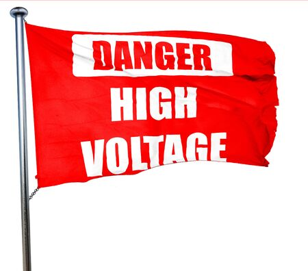 high voltage sign: high voltage sign with some soft smooth lines, 3D rendering, a red waving flag Stock Photo