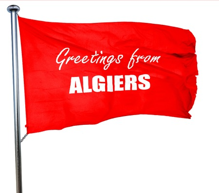 algiers: Greetings from algiers with some smooth lines, 3D rendering, a red waving flag Stock Photo