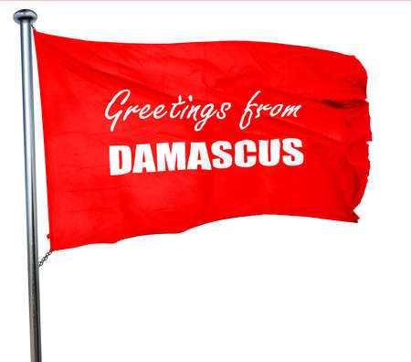 damascus: Greetings from damascus with some smooth lines, 3D rendering, a red waving flag