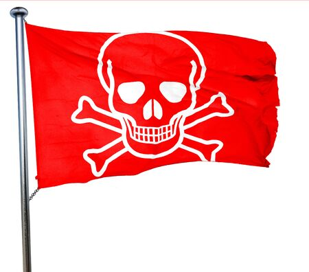 poison sign: Poison sign background with some soft scratches and dents, 3D rendering, a red waving flag Stock Photo