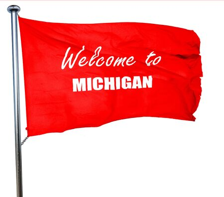 michigan flag: Welcome to michigan with some smooth lines, 3D rendering, a red waving flag Stock Photo