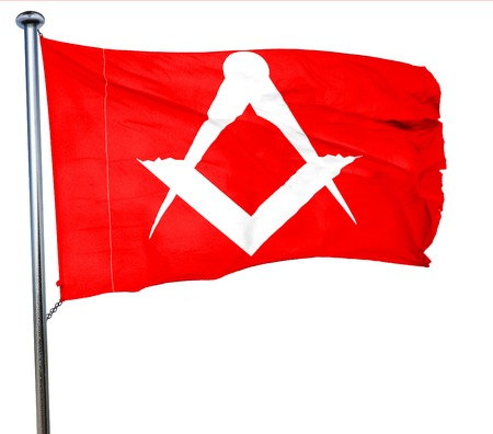 freemasonry: Masonic freemasonry symbol with some soft smooth lines, 3D rendering, a red waving flag