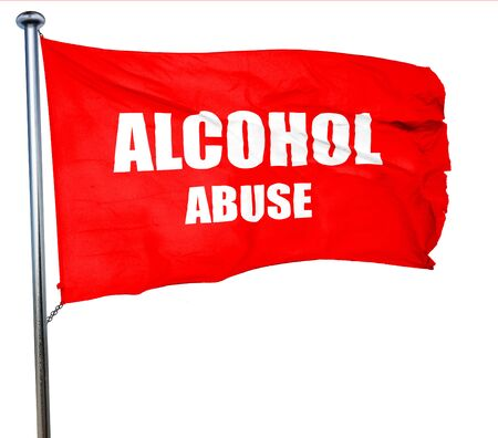 alcohol abuse: Alcohol abuse sign with some soft flowing lines, 3D rendering, a red waving flag