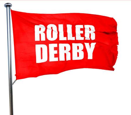 rollerskating: roller derby, 3D rendering, a red waving flag