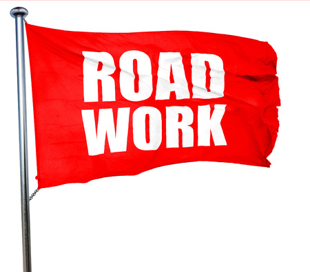 road work: road work, 3D rendering, a red waving flag