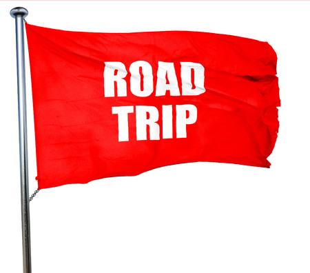 roadtrip: roadtrip, 3D rendering, a red waving flag Stock Photo