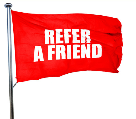 refer: refer a friend, 3D rendering, a red waving flag Stock Photo