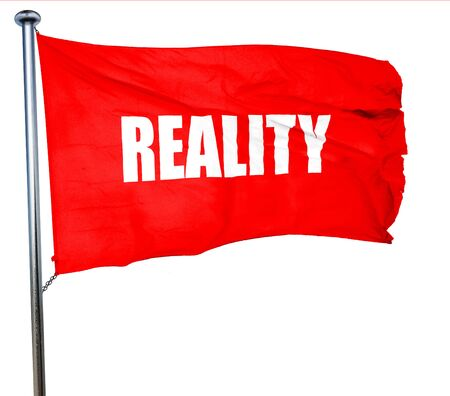factual: reality, 3D rendering, a red waving flag