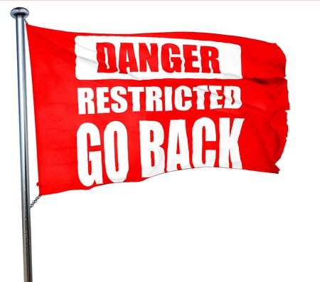 warning back: Go back sign with some smooth lines, 3D rendering, a red waving flag