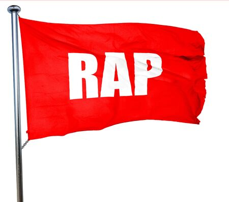 music 3d: rap music, 3D rendering, a red waving flag