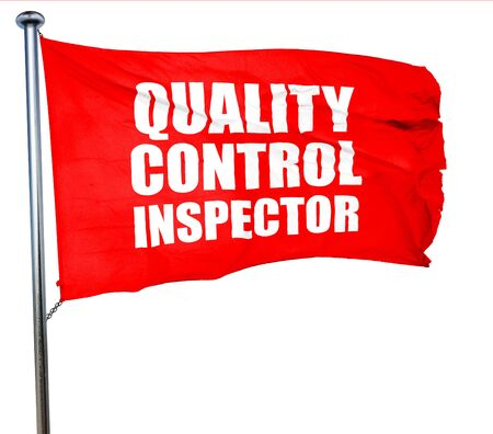 engineering clipboard: quality control inspector, 3D rendering, a red waving flag Stock Photo