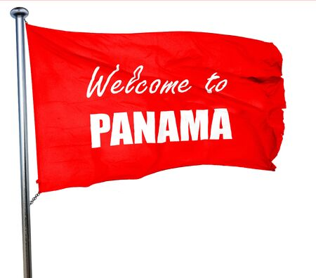 bandera panama: Welcome to panama card with some soft highlights, 3D rendering, a red waving flag