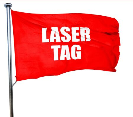 laser tag: laser tag sign background with some soft smooth lines, 3D rendering, a red waving flag