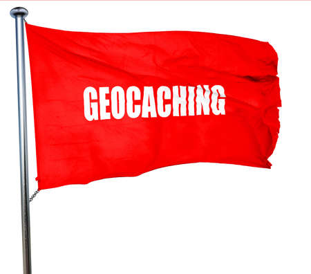 caching: geocaching sign background with some soft smooth lines, 3D rendering, a red waving flag Stock Photo