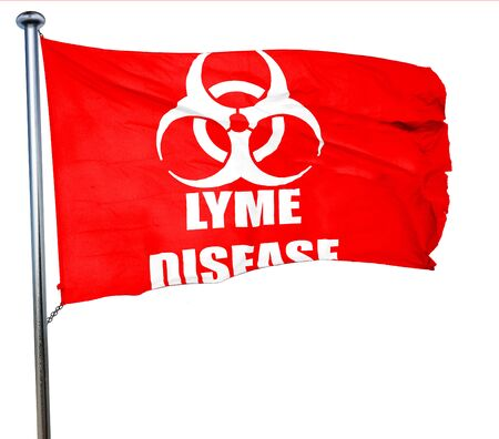 lyme: Lyme virus concept background with some soft smooth lines, 3D rendering, a red waving flag